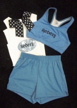 A Cute Cheerleading Outfit: polka dot bow, sports bra and matching shorts from Spiritville USA